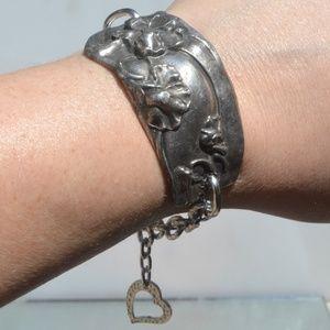 Floral Silver Plate Heart Charm Antique Bracelet